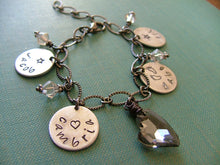 This Charming Heart Multiple Name Tag Charm and Swarovski Crystal Bracelet MyBella Custom Hand Stamped Mother's/Grandmother's Bracelet