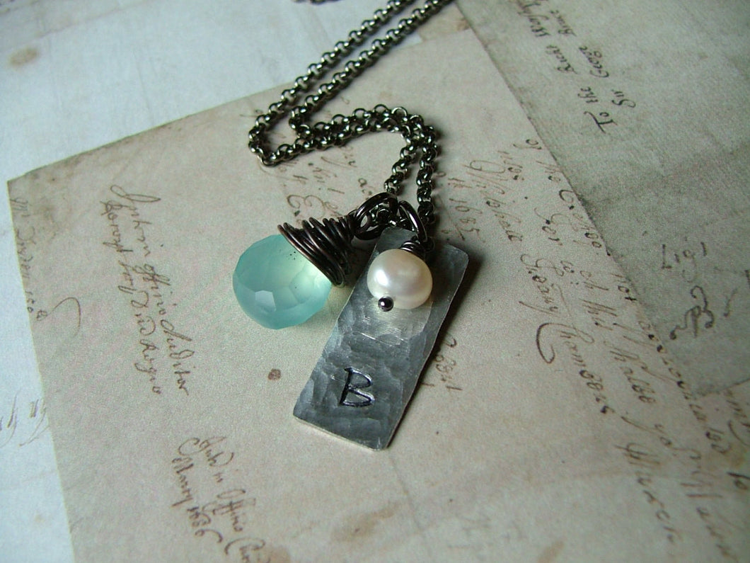 Just the beach and me Custom Hand Stamped Hammered Aluminum Necklace with Wire Wrapped Blue Chalcedony & Freshwater Pearl by MyBella