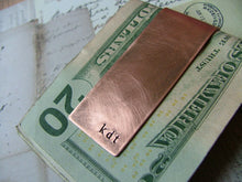Monogram Initials Custom Hand Stamped Copper Money Clip - by MyBella