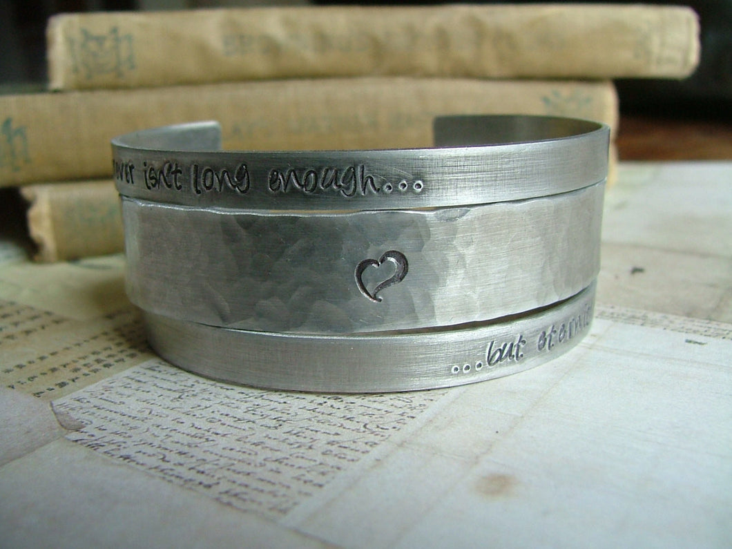 Forever isn't long enough, but eternity will do - Set of 3 Aluminum Cuff Bracelets - by MyBella