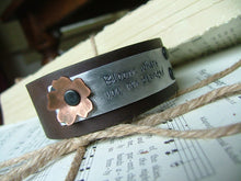 Bloom Where You Are Planted Custom Hand Stamped Mixed Metals Custom Leather Cuff With Copper Accent Flower by MyBella