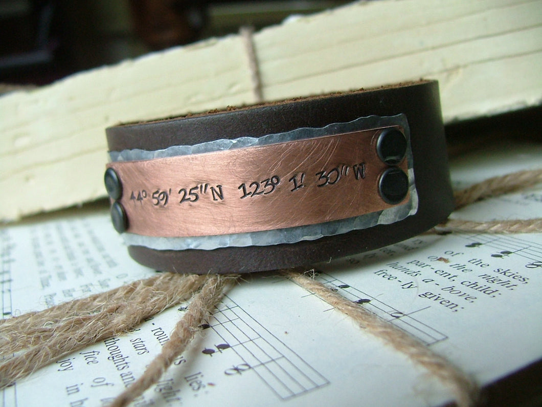 Mixed Metals Latitude & Longitude Custom Hand Stamped Hand Cut Leather Cuff In Slate Black Mahogany Honey Tan or Oxblood Red by MyBella
