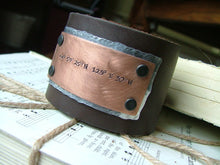 Mixed Metals Latitude & Longitude Custom Hand Stamped 2 Inch Tall Brown Leather Cuff by MyBella