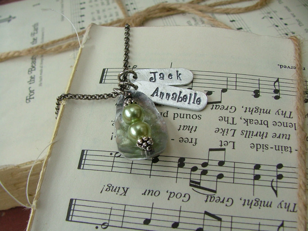Just Like Peas In A Pod Custom Hand Stamped Mommy or Grandma Pea Pod Neckalce with Glass or Freshwater Pearls by MyBella