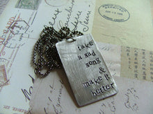Custom Hand Stamped Lyrics Dog Tag Necklace by MyBella