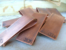 Groomsmen Gift Pack Set of 6 Custom Hand Stamped Copper Money Clips Bulk Order Savings Set  - by MyBella