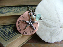I Refuse To Sink Custom Hand Stamped Copper Teardrop Necklace with Peruvian Blue Quartz by MyBella