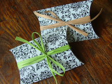 MyBella Custom Pillow Box with Lime Green or Kraft Paper Ribbon - Small