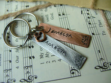 Established In...Custom Hand Stamped Mixed Metals His and Hers Gift Set Aluminum and Copper Key Chains
