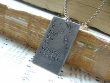 I Love You To Infinity & Beyond Custom Hand Stamped Rocket Ship and Stars Dog Tag Necklace by MyBella