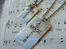 His And Hers Set of Two Amazing Grace Custom Hand Stamped Cross Dog Tag Necklaces by MyBella