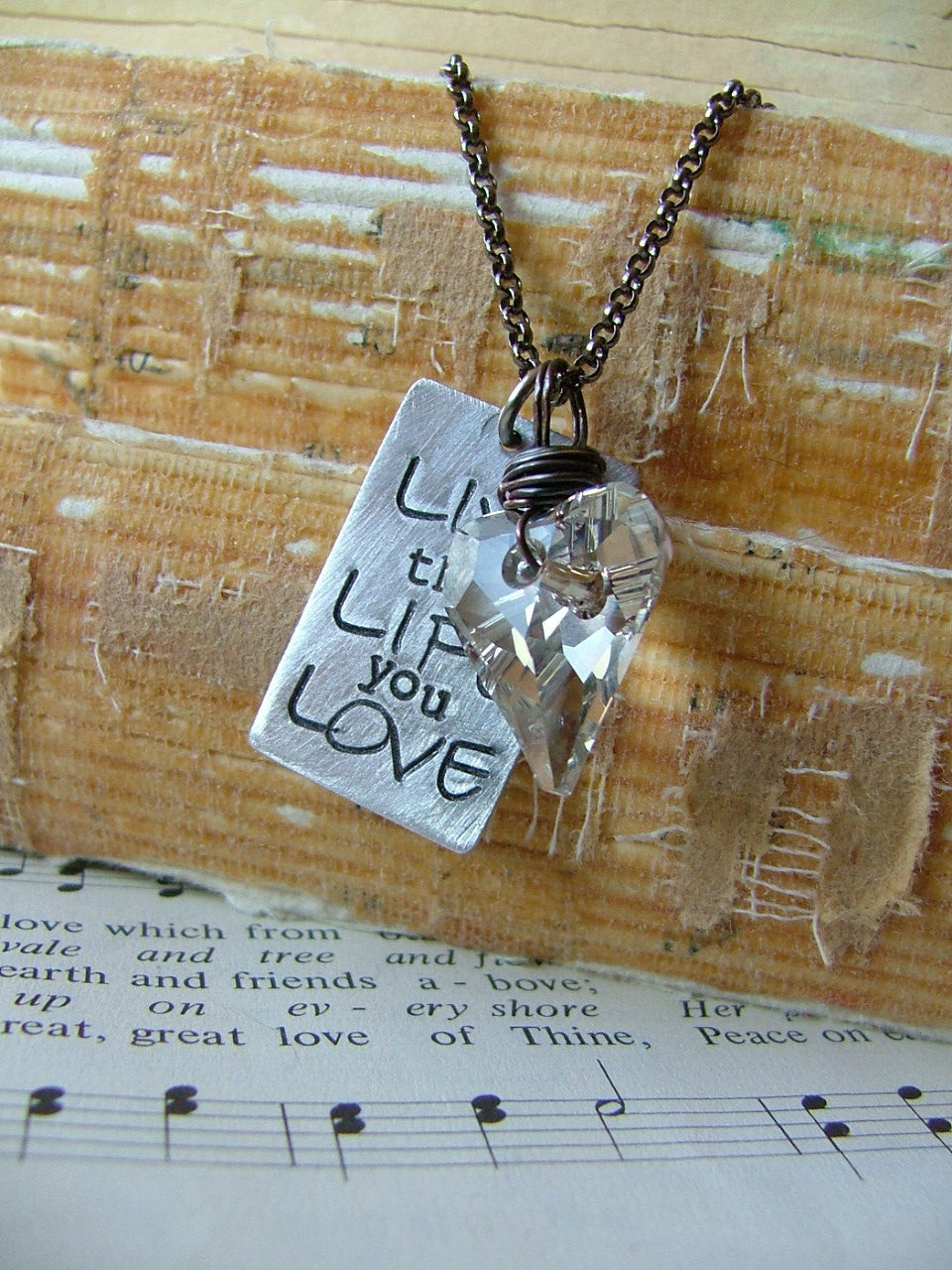 Live the Life you Love Custom Hand Stamped Necklace with Swarovski Crystal by MyBella