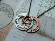 My Heart Belongs To A Hero Custom Hand Stamped Mixed Metals Aluminum and Copper Washer Necklace by MyBella