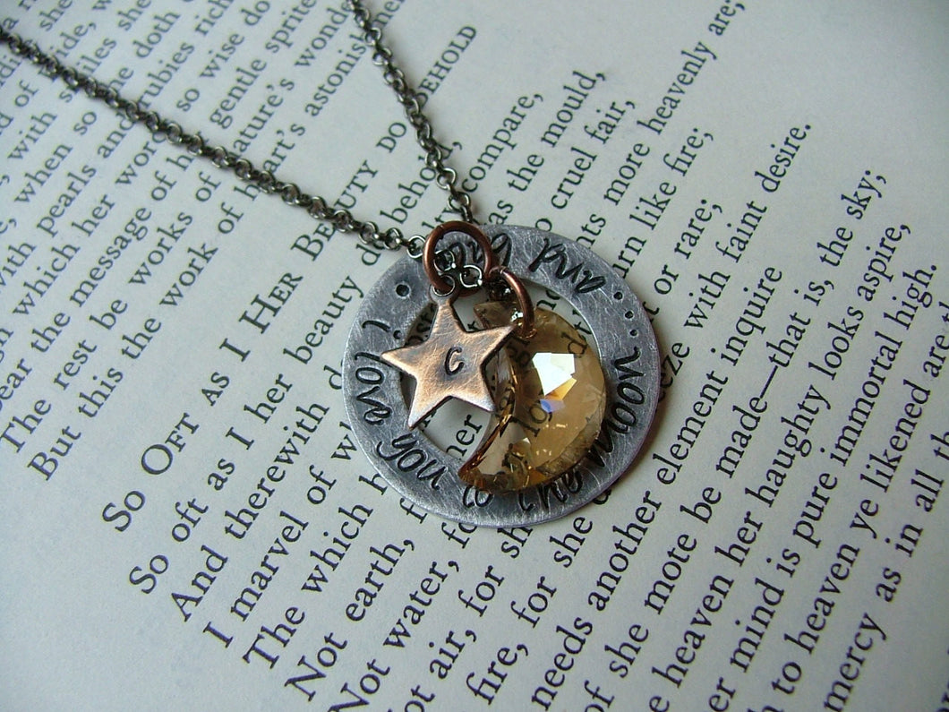 I Love You To The Moon And Back Custom Hand Stamped Aluminum Washer Swarovski Crystal Moon Necklace by MyBella