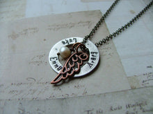 My Many Blessings Aluminum Washer Copper Wing Custom Hand Stamped Mommy Necklace With Freshwater Pearl by MyBella
