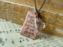Thank You For Raising The Man Of My Dreams Custom Swarovski Crystal & Copper Hand Stamped Mother in Law Honor Necklace by MyBella