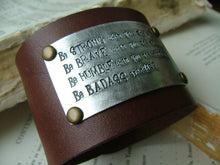 Be Strong Be Brave Be Humble Be BADASS Everyday Custom Hand Stamped 2 Inch Firm Denim Blue Leather Cuff by MyBella