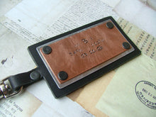 Mixed Metals Custom Hand Stamped Aluminum & Copper Hand Cut Leather Luggage Bag Briefcase Tag by MyBella