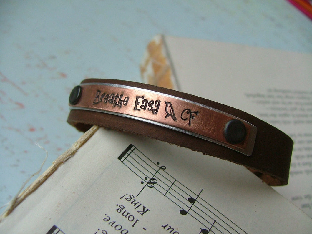 Mixed Metals Breathe Easy Custom Hand Stamped Cystic Fibrosis Leather Hand Stamped Cuff by MyBella