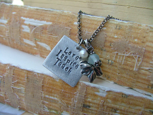 Love Inspire Teach Custom Hand Stamped Teachers Thank You Teacher Appreciation Necklace Pearl Quartz Brass Apple Collection by MyBella