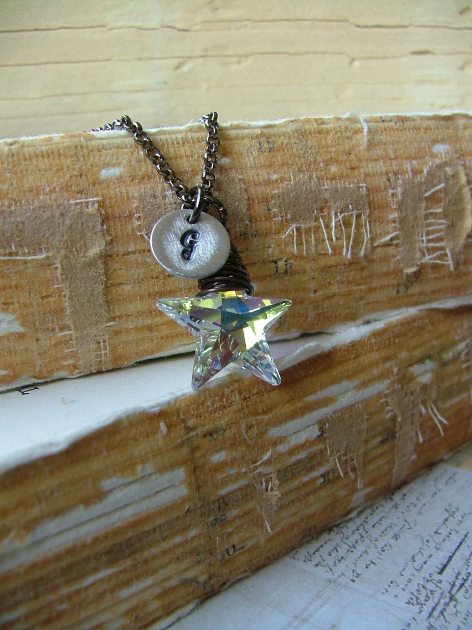 Make A Wish Upon This Star Custom Swarovski Crystal Hand Stamped Initial Pendant Necklace by MyBella