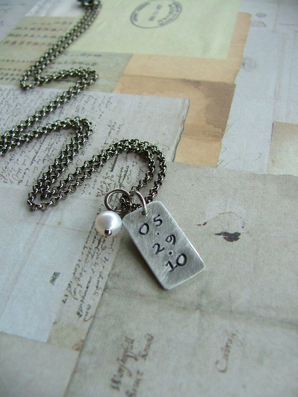 On This Day Custom Hand Stamped Anniversary, Kids' Birthdate, Religious, Sobriety Necklace with Freshwater Pearl by MyBella