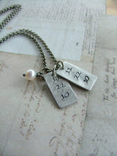 On This Day Custom Hand Stamped Twins Birthdate Necklace with Freshwater Pearl by MyBella