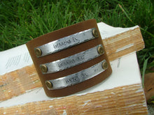 Breathe In Breathe Out Move On Custom Hand Stamped 3 Tag 2 Inch Tall Leather Cuff Bracelet by MyBella