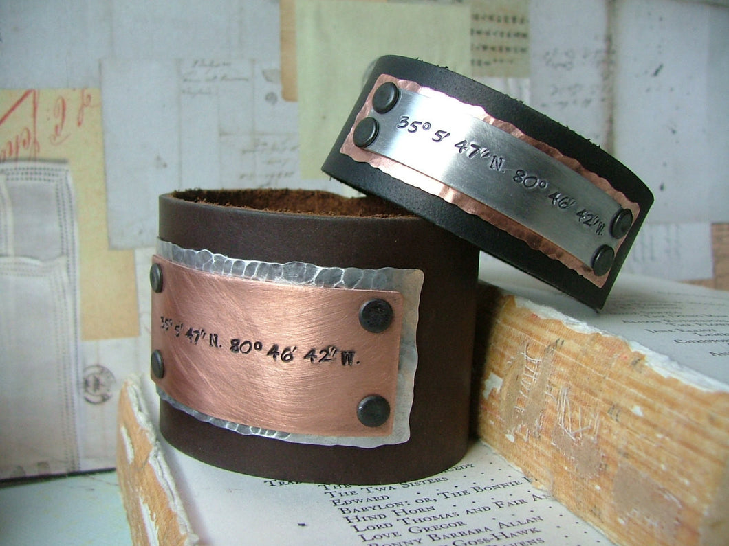 Mixed Metals His & Hers 2 pc Set Latitude and Longitude Custom Hand Stamped Set of Two Custom Hand Stamped Leather Cuffs by MyBella