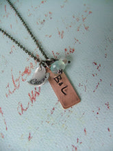 These Simple Gifts Custom Hand Stamped Mixed Metals Mommy Necklace with Peruvian Blue Quartz and Freshwater Pearl by MyBella