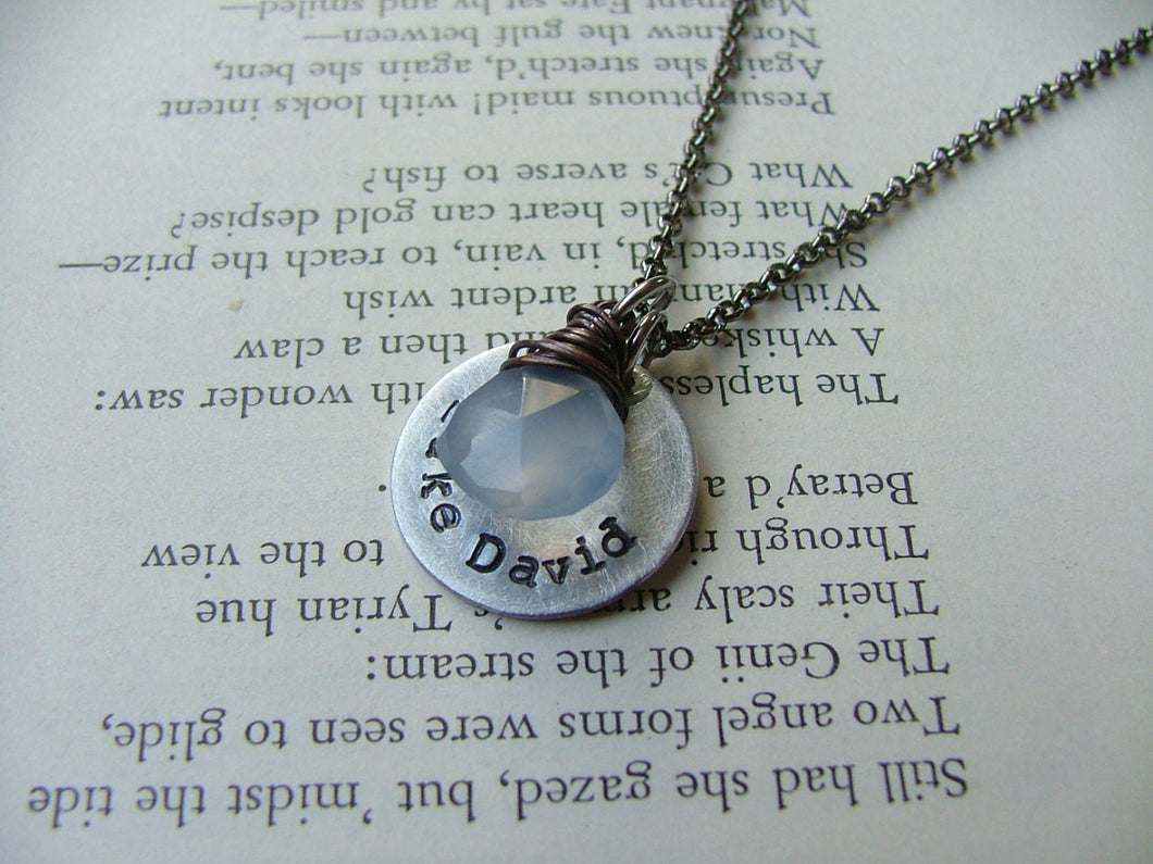 Little Boy Blue Custom Hand Stamped Mommy Necklace with Wire Wrapped Periwinkle Blue Chalcedony Stone by MyBella
