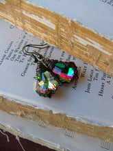 Peacock Blue Green Purple Crystal If It Ain't Baroque, Don't Fix It Custom Wire Wrapped Peacock Swarovski Crystal Drop Earrings by MyBella
