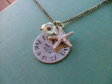 Sandy Feet & Salty Kisses Custom Hand Stamped Aluminum Tear Drop Pendant Memory Necklace by MyBella