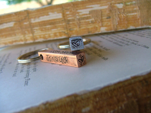 Raising The Bar Custom Hand Stamped Copper or Aluminum Bar Key Chain by MyBella