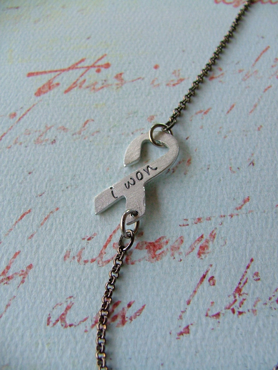 I Won Custom Hand Stamped Aluminum Cancer Survivor Ribbon Necklace by MyBella