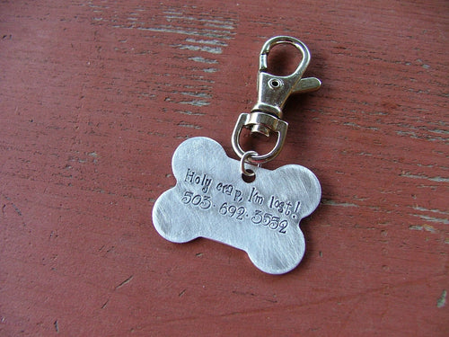 Holy Crap I'm Lost Custom Hand Stamped Bone Shape Aluminium Pet Dog Tag by MyBella