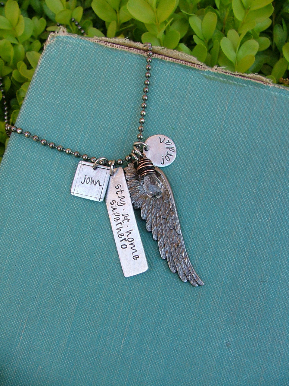 Stay At Home Superhero XL Extra Long Necklace with Limited Edition Wing Pendant Signature Hand Stamped Mommy Necklace - by MyBella