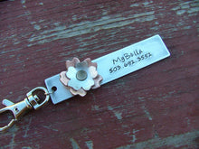 MyBella Bloom Custom Hand Stamped Mixed Metals Hibiscus Copper Aluminum Flower Bag Tag Key Chain by MyBella
