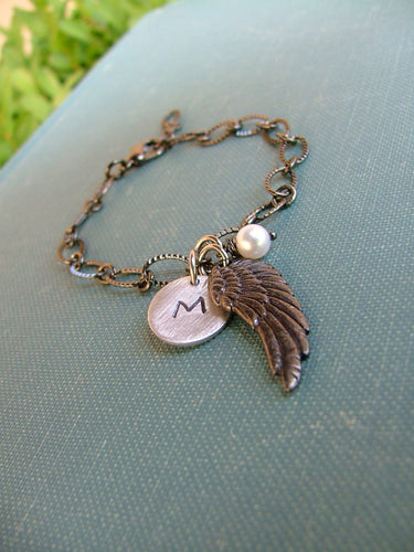 Angel Baby Born With Wings Custom Hand Stamped Angel Wing Infnant Loss Charm Bracelet by MyBella