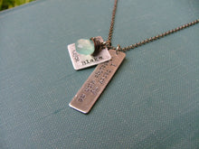 MyBella Signature Necklace I Carry My Blessings With Me Custom Hand Stamped Mommy Necklace With Wire Wrapped Blue Chalcedony by MyBella