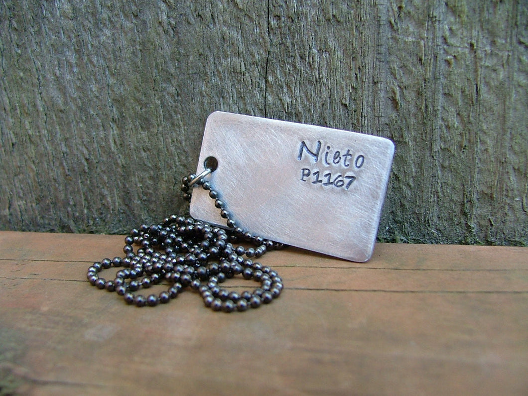 Custom Hand Stamped Honor Police Officer's Dog Tag Necklace With Badge Call Number by MyBella