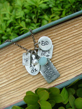 Forever Love Custom Hand Stamped 10 Year Wedding Anniversary Edition with Peruvian Blue Quartz And Freshwater Pearl by MyBella
