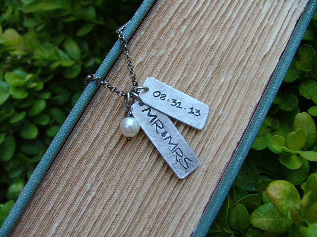 Mr & Mrs Custom Hand Stamped Wedding Day Celebration Memory Necklace with Freshwater Pearl by MyBella