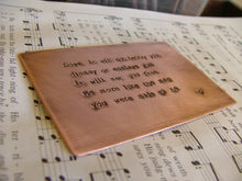 7 Year Copper Wedding Anniversary Custom Hand Stamped Wallet Card Keepsake with Wedding Vows MyBella Carry Me Collection