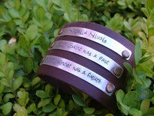 Every Saint Has A Past Every Sinner Has A Future Leather 2 Inch Tall Cuff Bracelet with Custom Hand Stamped Metal by MyBella