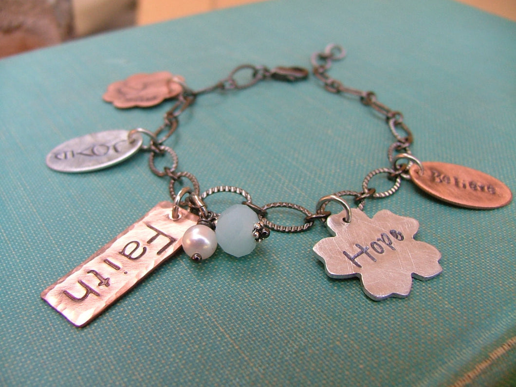 Custom Hand Stamped Copper Aluminum Mixed Metals Dream Love Faith Hope Believe Devotion Charm Bracelet by MyBella