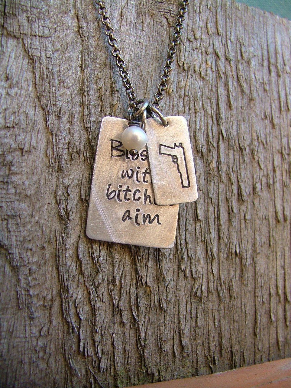 Blessed with Bitchen Aim Custom Hand Stamped Concealed Carry Handgun Pistol Pro Second Amendment Necklace by MyBella