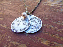 Grandma's Blessings From Heaven Custom Hand Stamped Aluminum Teardrop Necklace with Second Tag For Grandchildrens Names & Pearl by MyBella