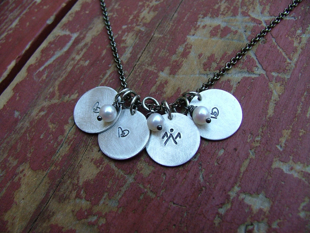 My Tiny Tokens Custom Hand Stamped Mommy Necklace with Infant Loss Memorial Aluminum & Freshwater Pearl Necklace by MyBella