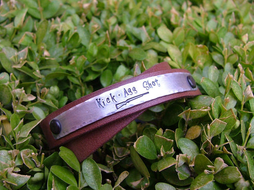 Kick Ass Shot Custom Hand Stamped Shotgun Rifle Double Strand Leather Cuff Bracelet by MyBella